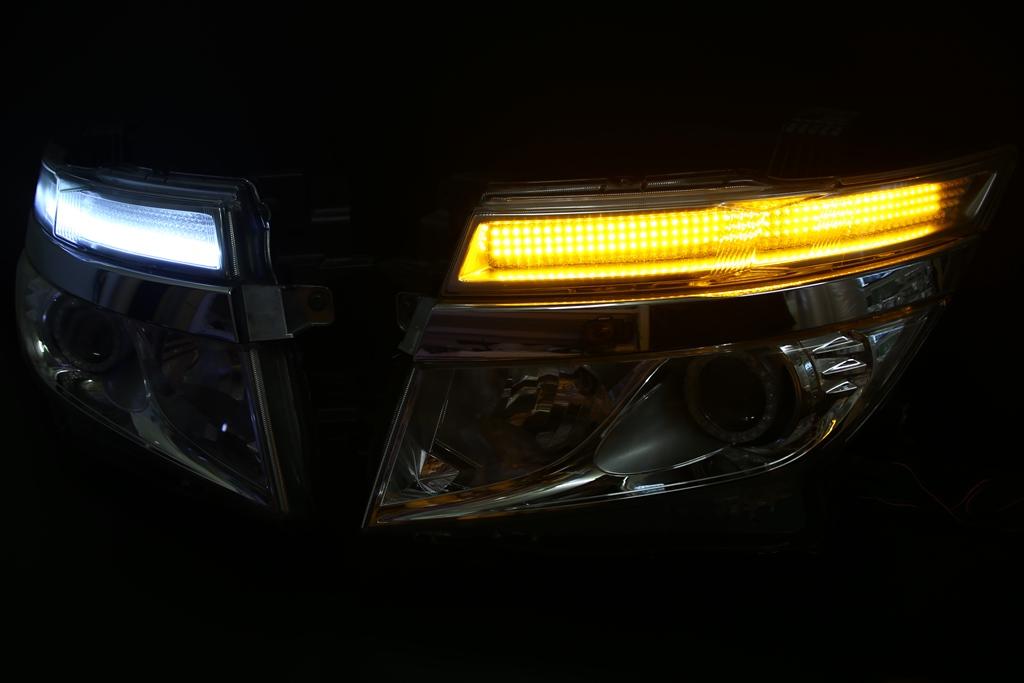 E52 エルグランド 前期 ヘッドライト LED加工 シーケンシャルウインカー